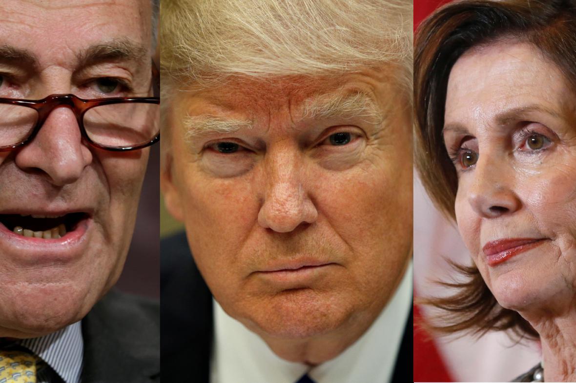 Schumer, Trump, Pelosiová
