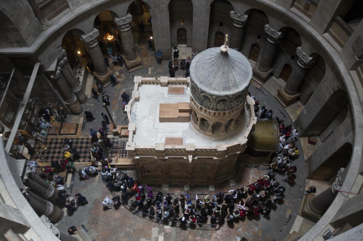 Opravená edikula v Chrámu Božího hrobu
