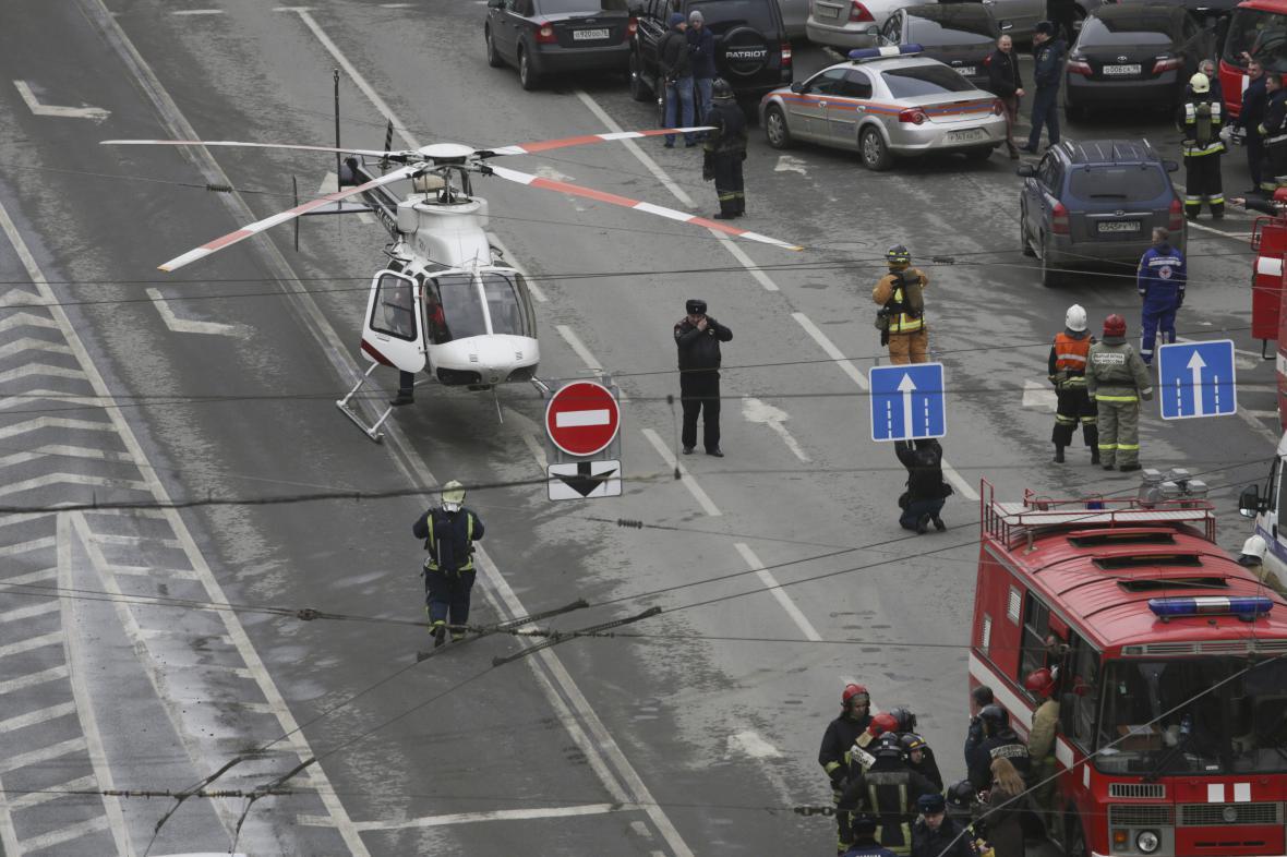Situace po výbuchu u stanice Senné náměstí