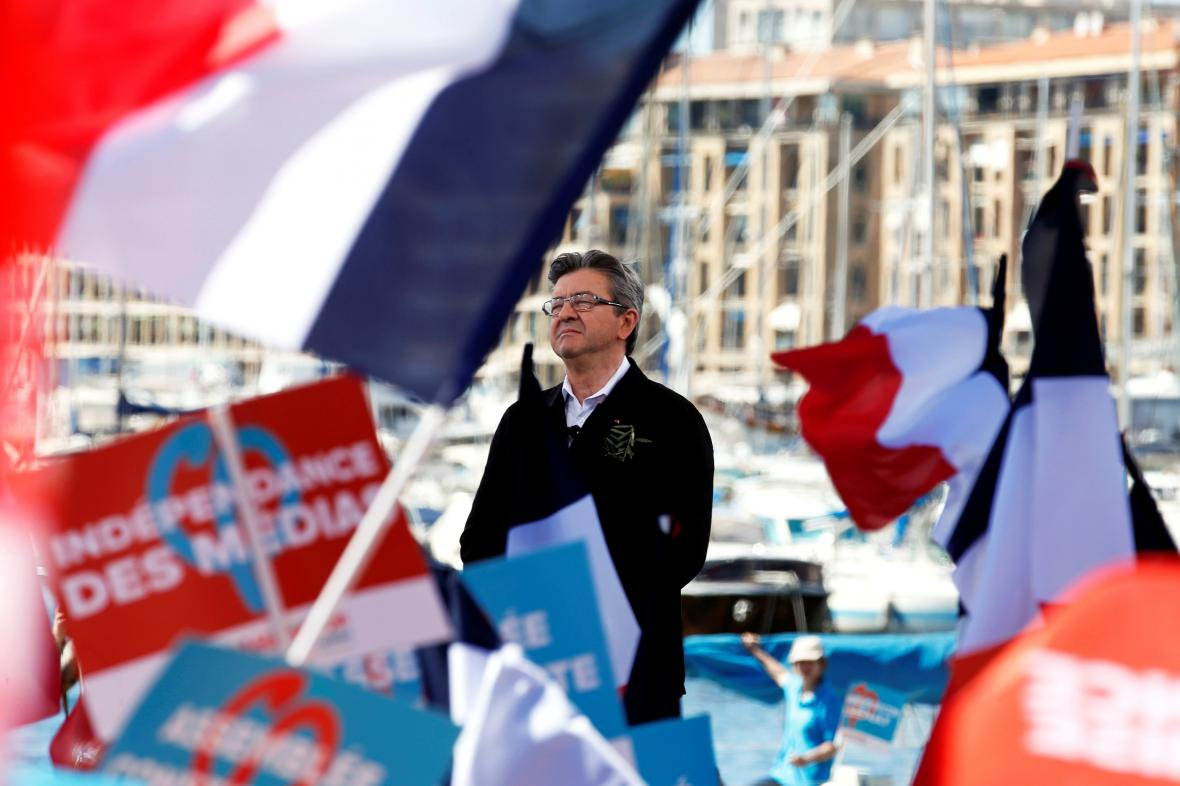 Jean-Luc Mélenchon na mítinku v Marseille