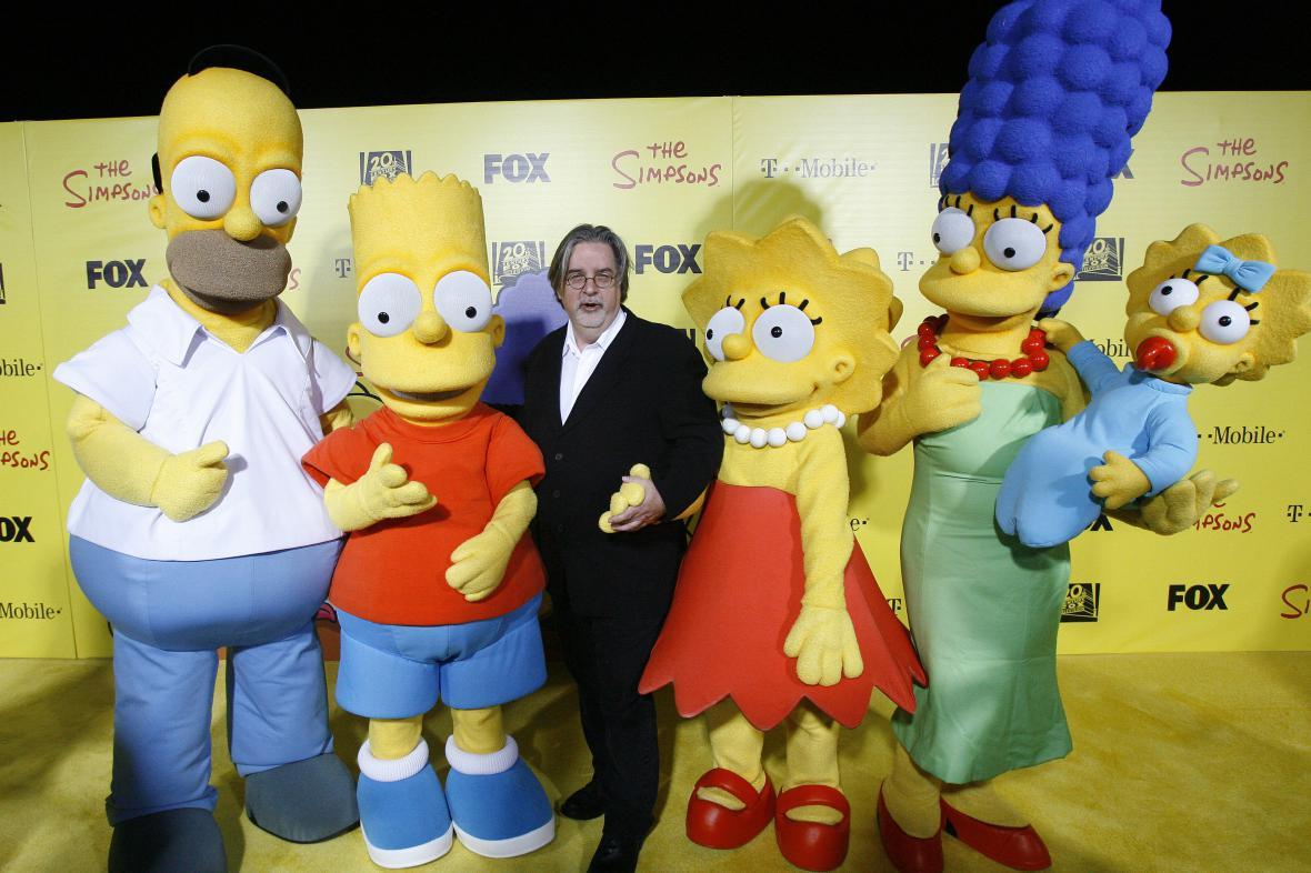 Simpsonovi se svým tvůrcem Mattem Groeningem