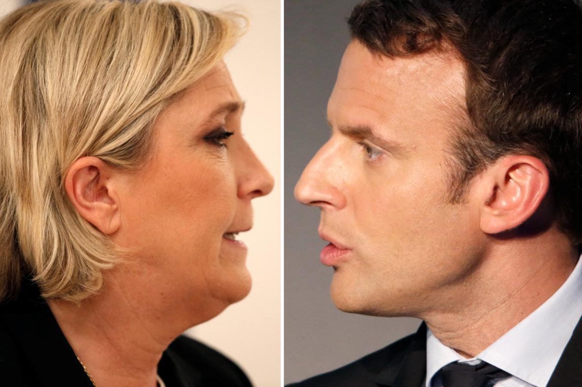 Marine Le Penová a Emmanuel Macron