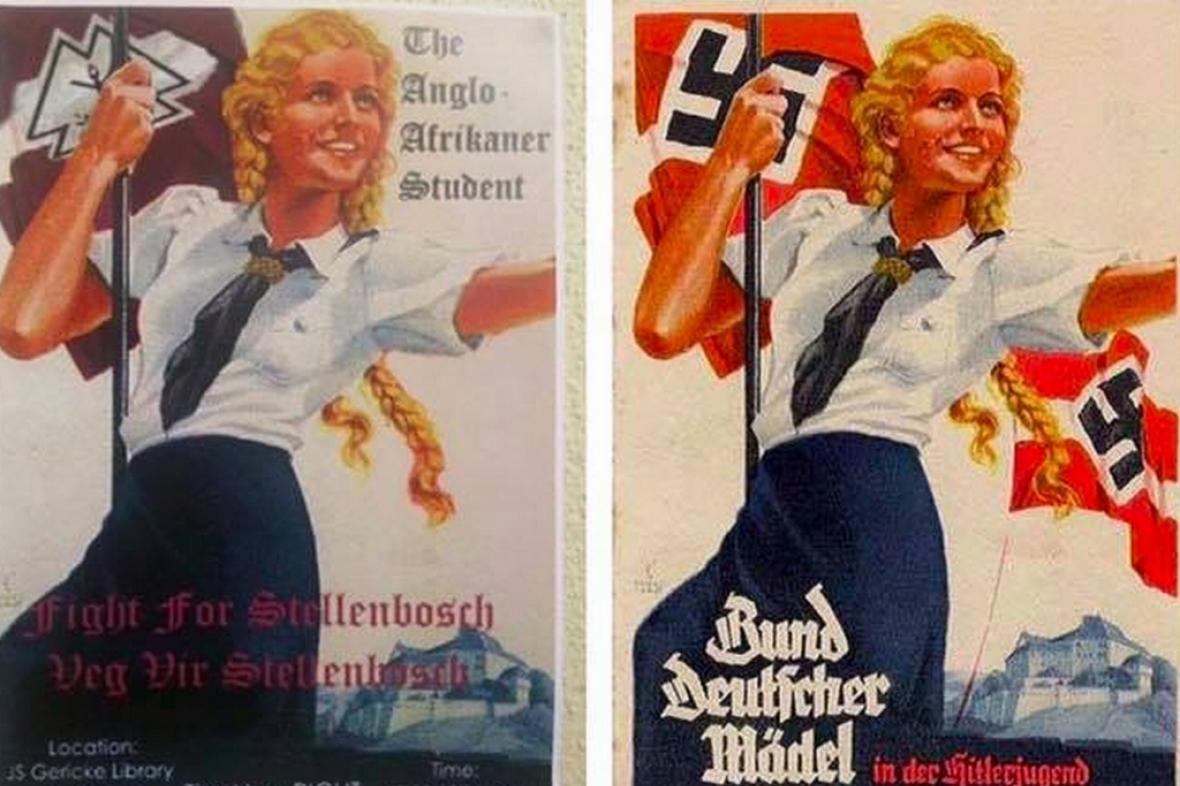 Srovnání: vlevo plakáty umístěné na nástěnkách, vpravo nacistická předloha