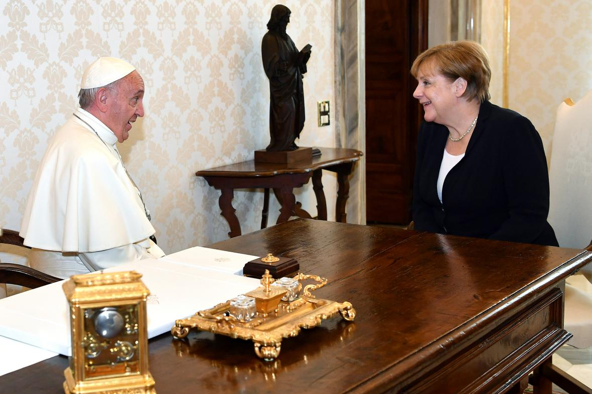 František přijal Angelu Merkelovou