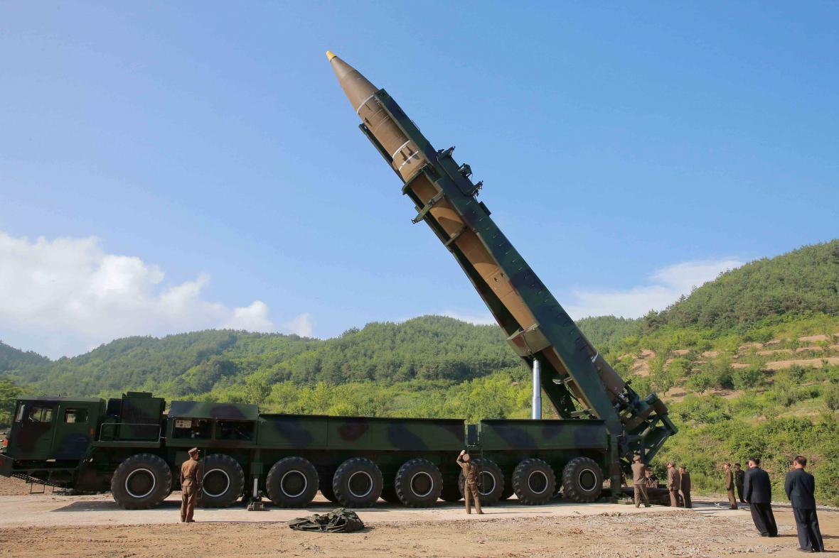 Severokorejský snímek mezikontinentální rakety Hwasong-14