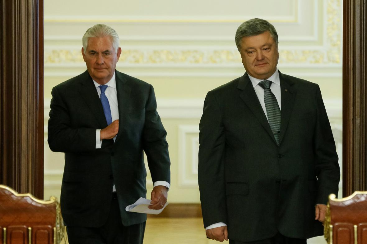 Rex Tillerson a Petro Porošenko