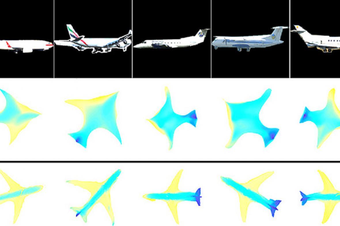 Počítač vizualizuje 2D předměty