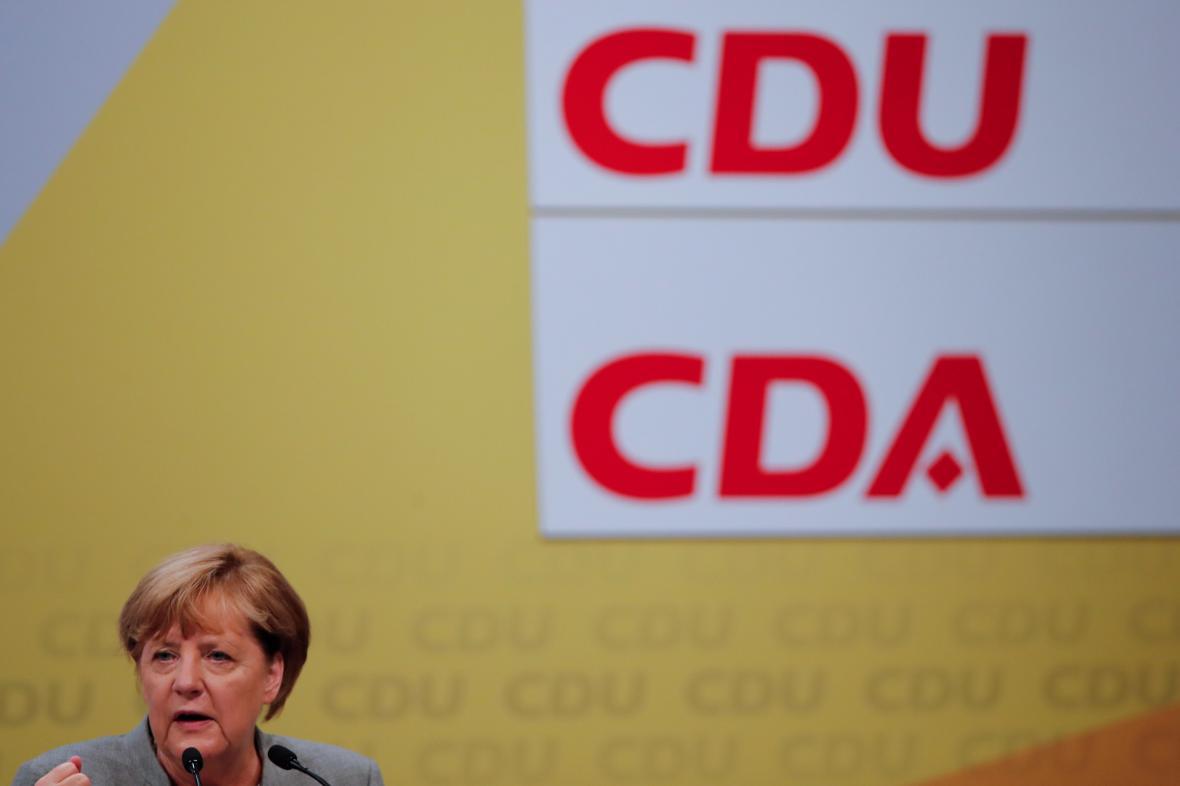 Angela Merkelová při projevu v Dortmundu