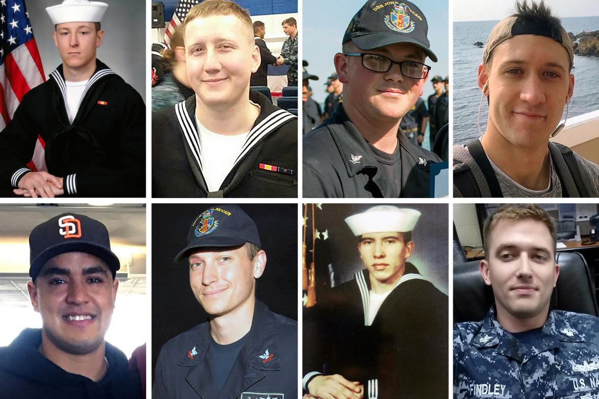 Snímky některých z námořníků, kteří zahynuli při srážce plavidel