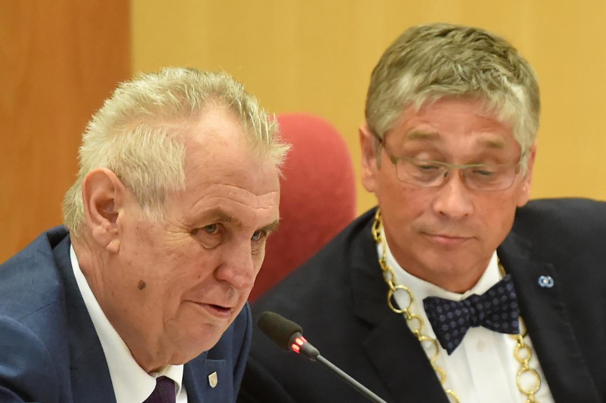 Prezident Miloš Zeman a hejtman Ivo Vondrák