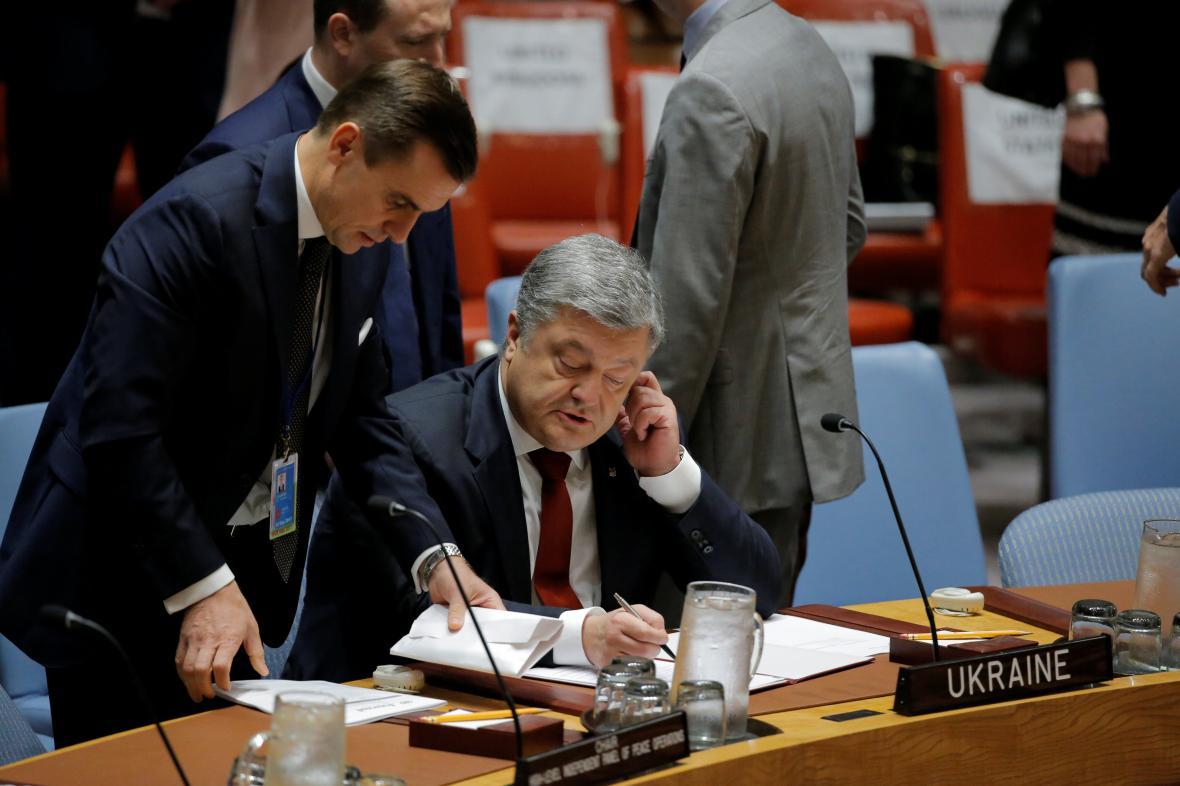 Petro Porošenko během jednání na půdě OSN