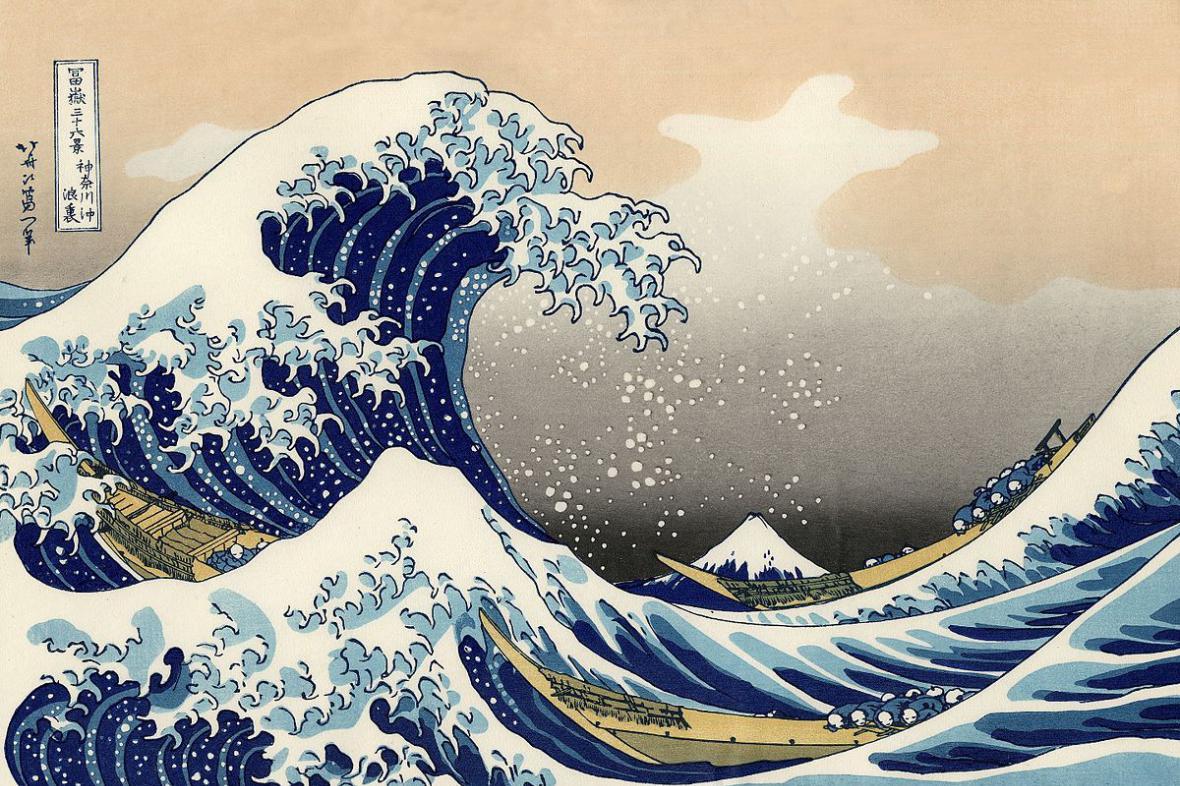 Vlna cunami, jak ji zachytil v 18. století japonský malíř Hokusai
