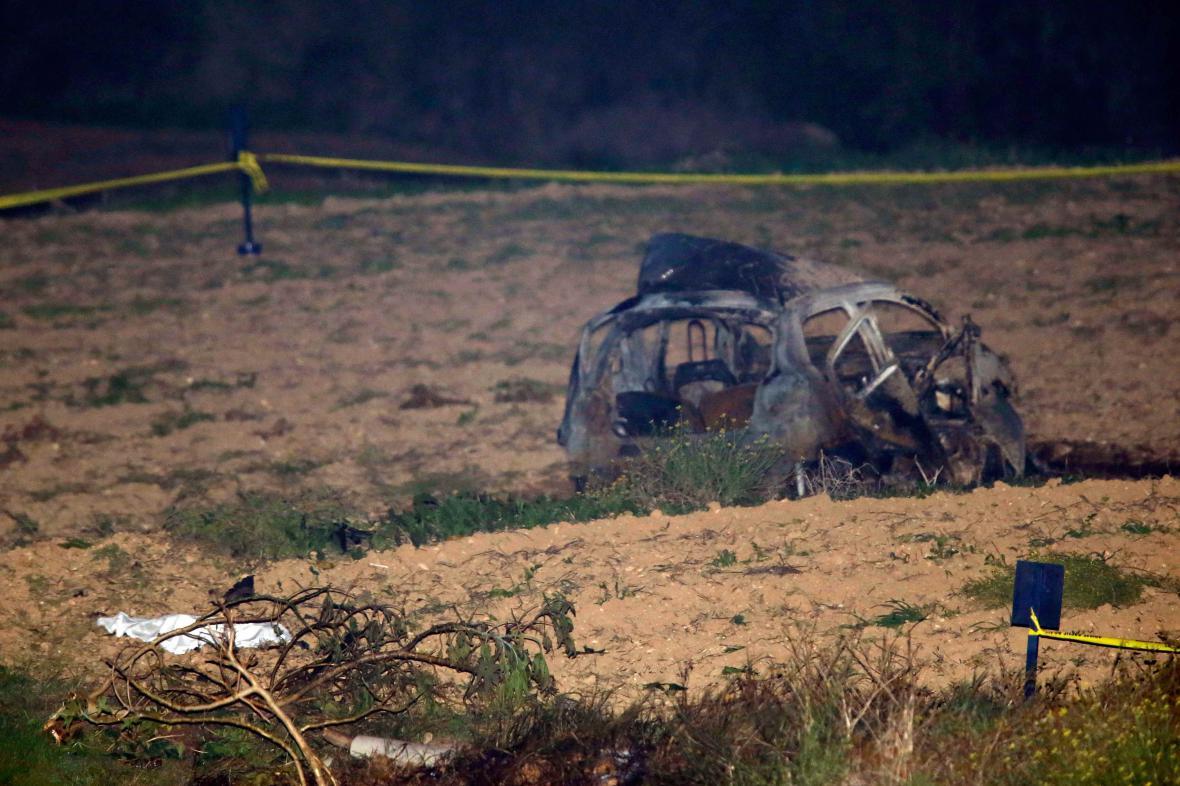 Místo výbuchu automobilu Daphne Galiziové