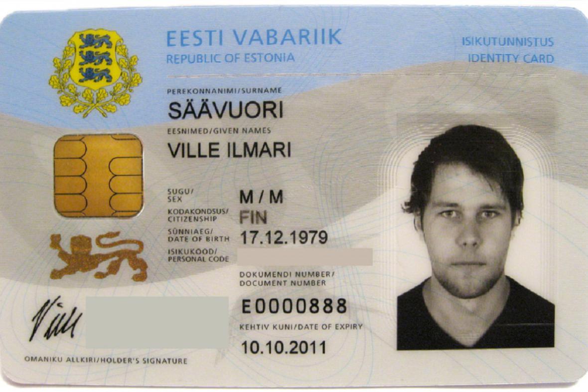 Estonská identifikační karta s čipem