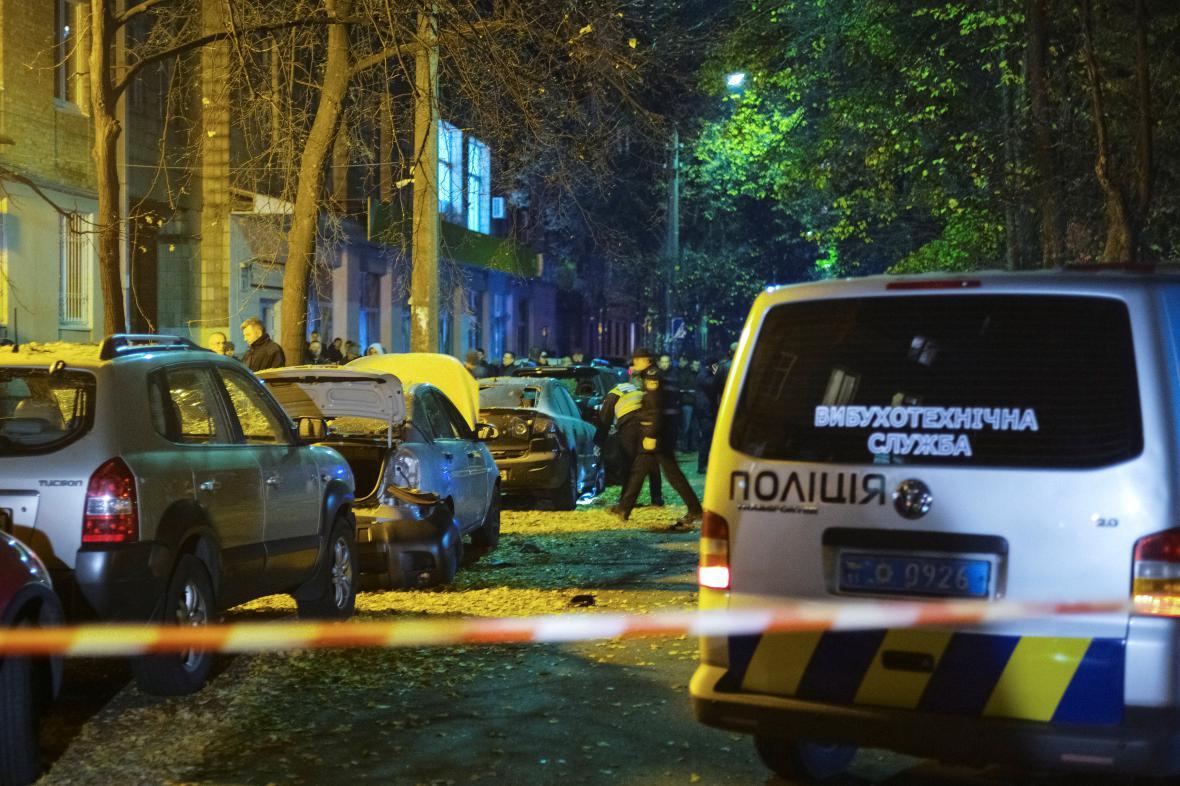Ukrajinská policie na místě výbuchu