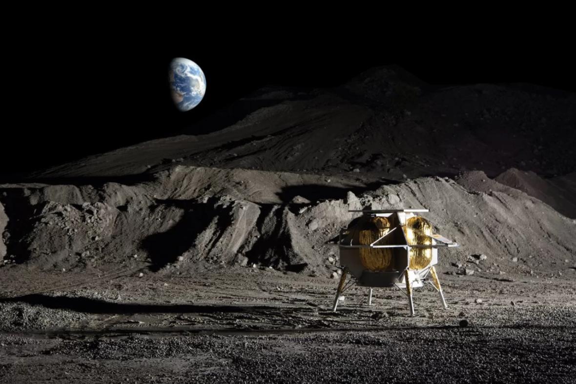 Umělecká představa o modulu firmy Astrobotic na Měsíci