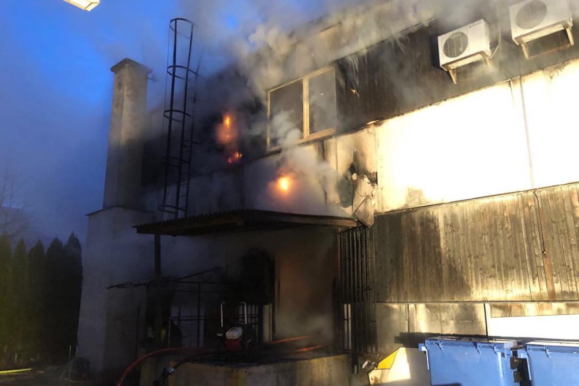 Požár haly v Prostějově