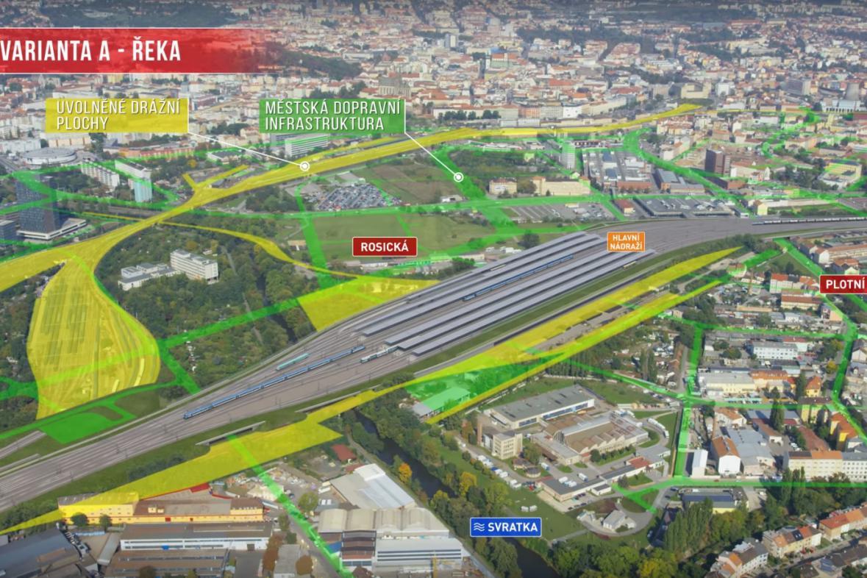Vizualizace infrastruktury ve variantě nádraží u řeky