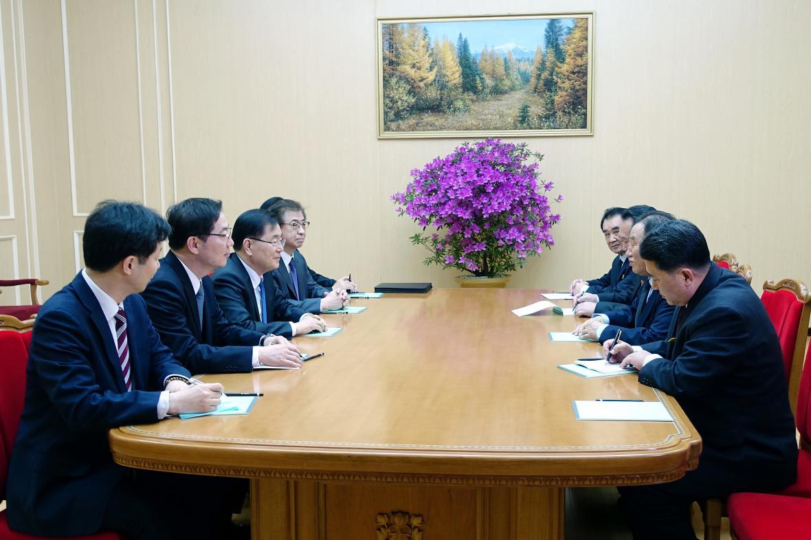 Setkání jihokorejské delegace se zástupci KLDR