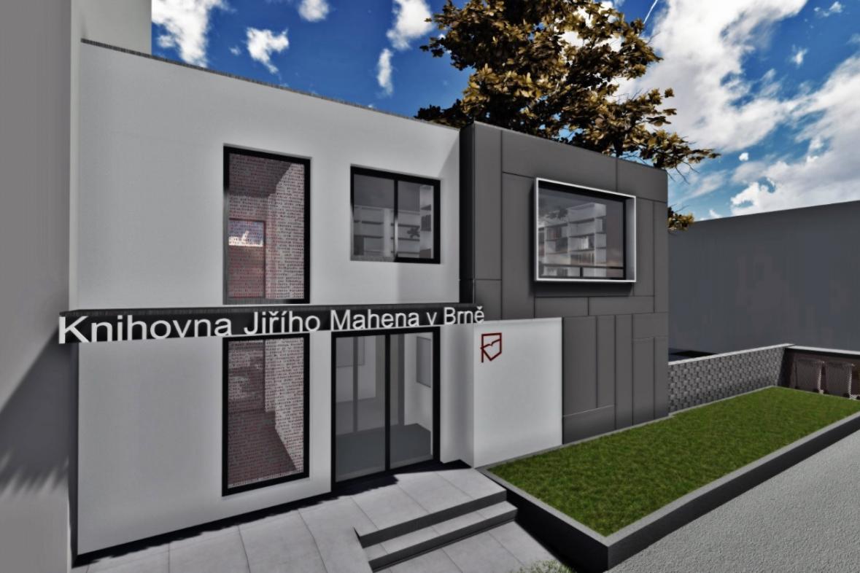 Vizualizace nové Knihovny Jiřího Mahena v Brně - Husovicích