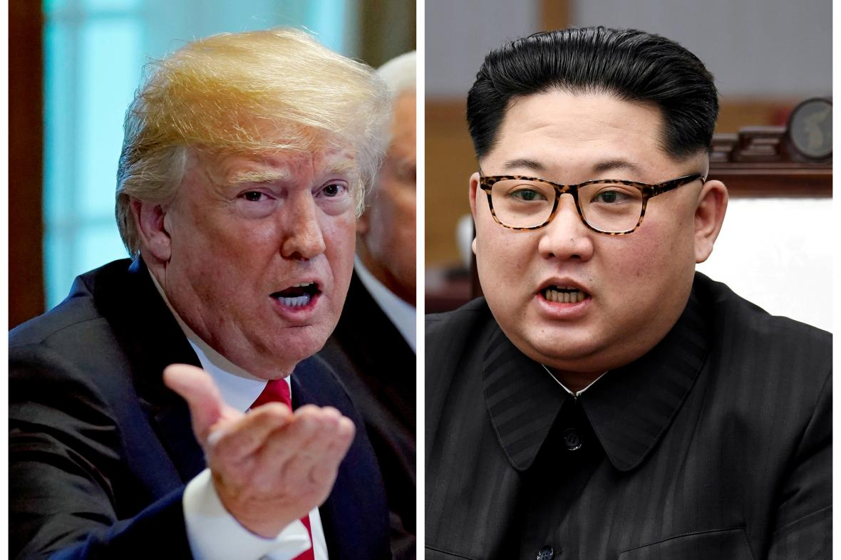 Kompilace fotografií Donalda Tumpa a Kim Čong-una