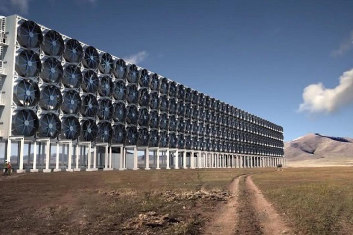 Umělecká představa budoucí továrny na odsávání CO2