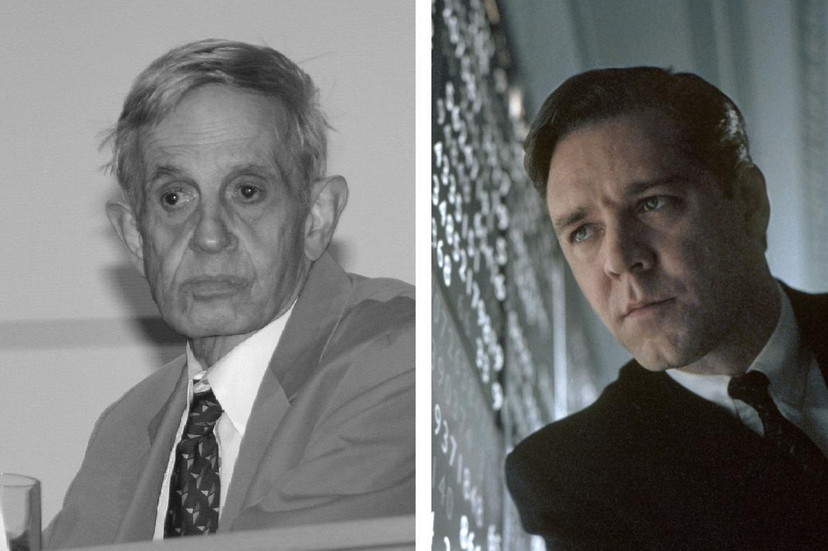 John Nash reálný (vlevo) a filmový v podání Russela Crowa (vpravo)