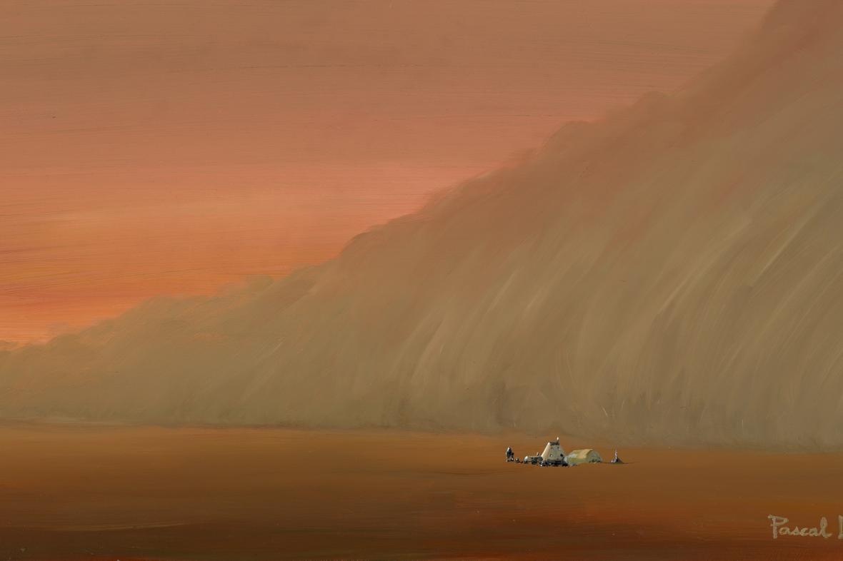 Umělecká představa bouře na Marsu