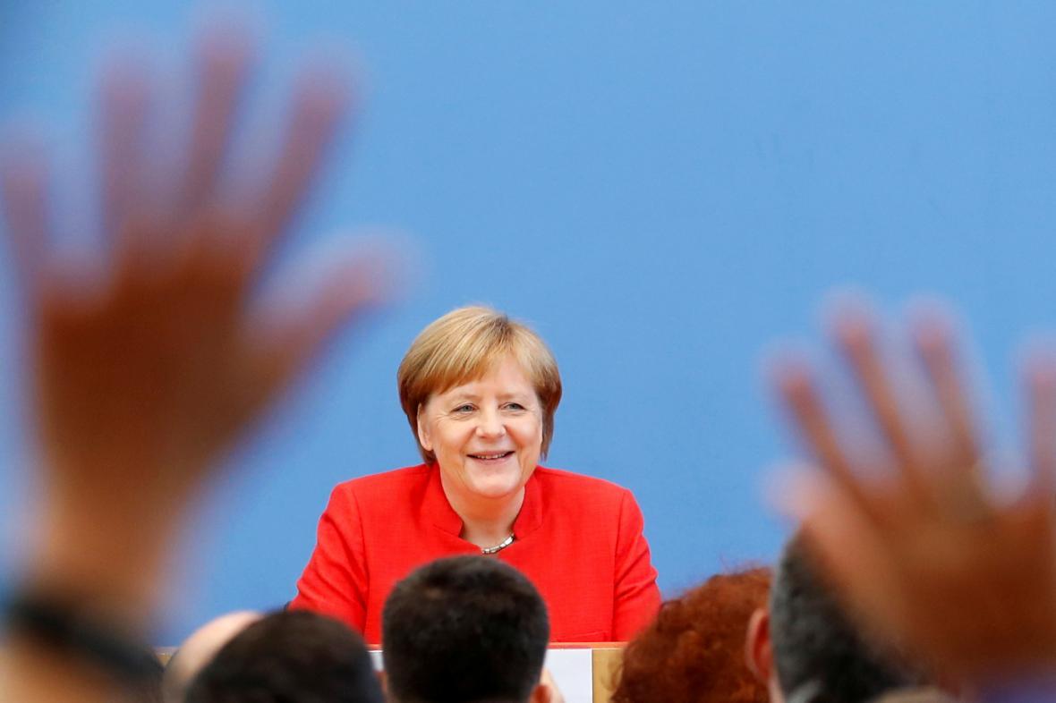 Angela Merkelová na výroční tiskové konferenci