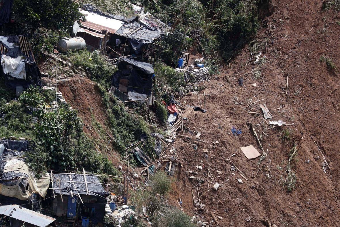 Zničený tábor horníků ve filipínském městě Itogon