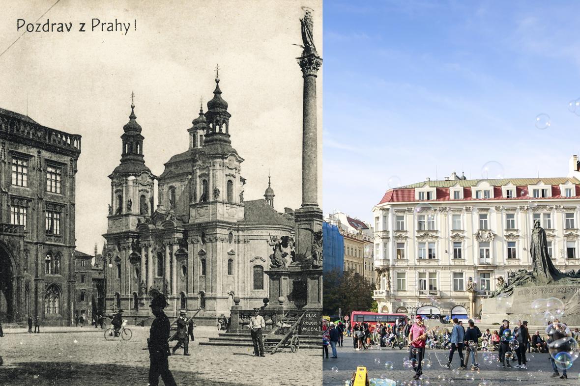 Staroměstské náměstí v roce 1918 a 2018