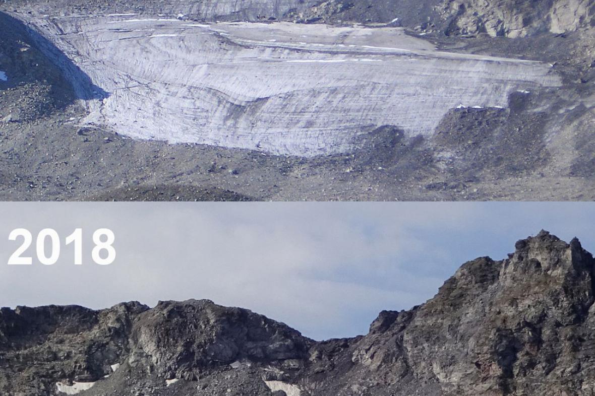 Pizolský ledovec se v létě 2018 rozpadl