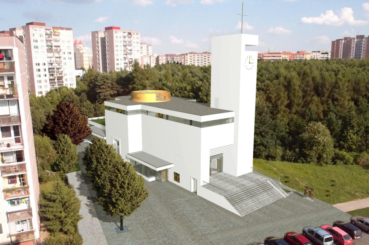 Vizualizace chystané stavby kostela na pražském Barrandově