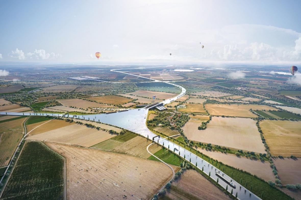 Vizualizace křižovatky kanálu Dunaj-Odra-Labe u Přerova