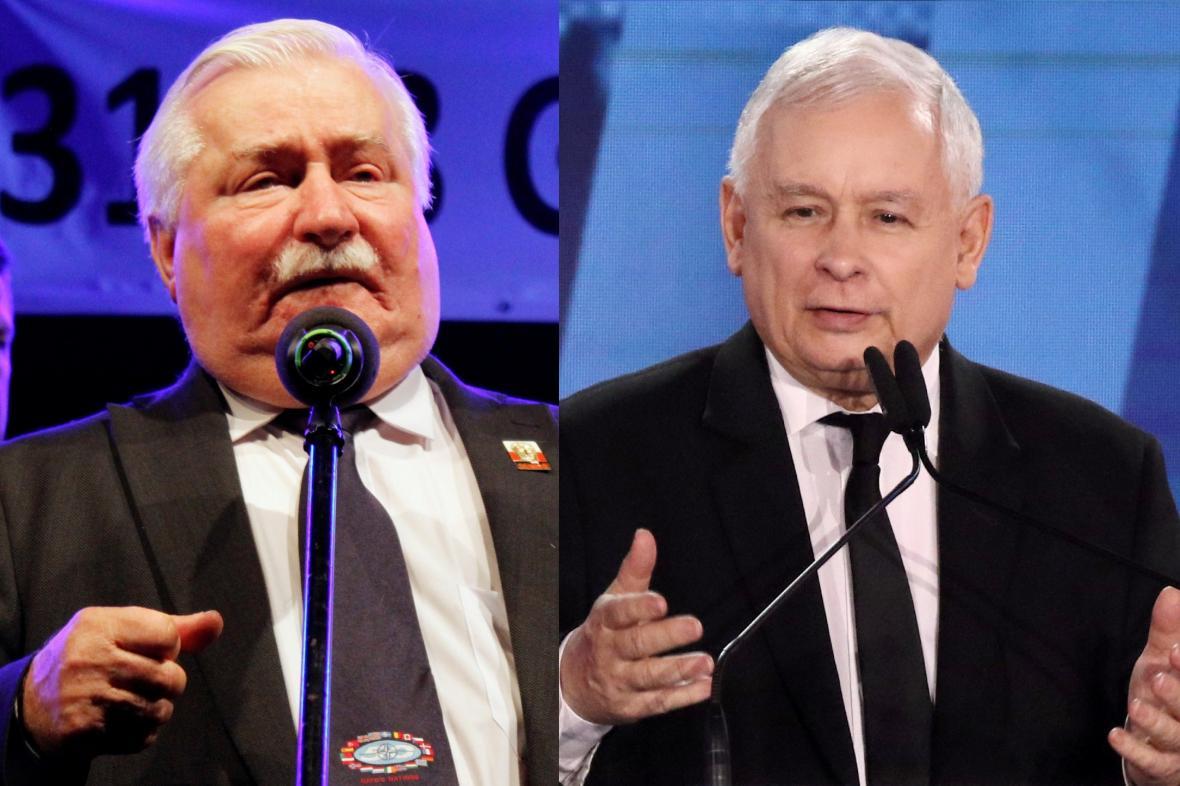 Lech Walesa a Jaroslaw Kaczynski