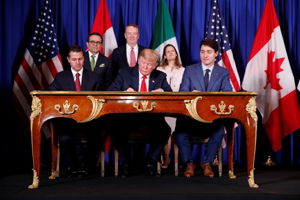 Podpis smlouvy, která nahrazuje bývalou dohodu NAFTA.