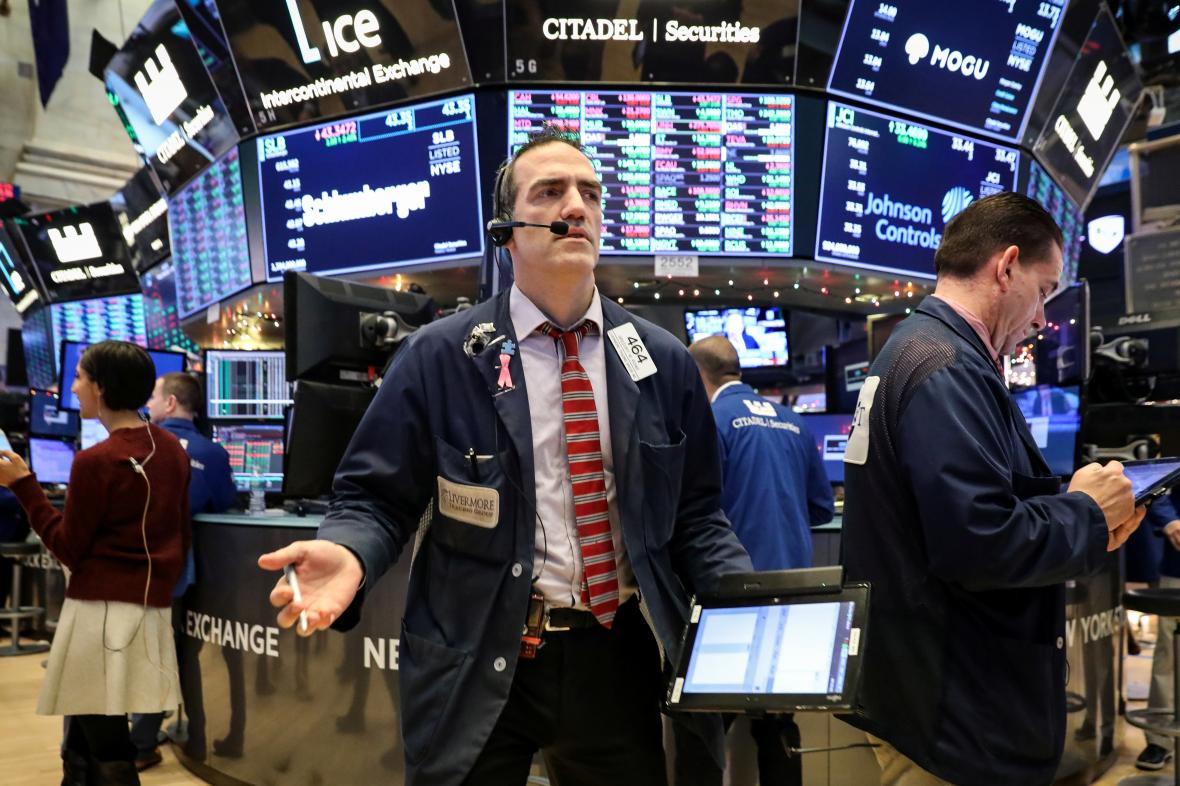 Parket americké akciové burzy NYSE v New Yorku