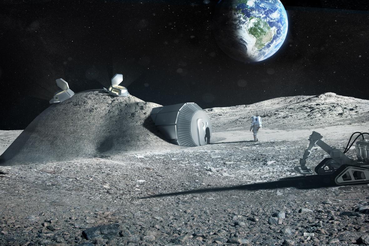 Vizualizace měsíční základny postavené 3D tiskárnou