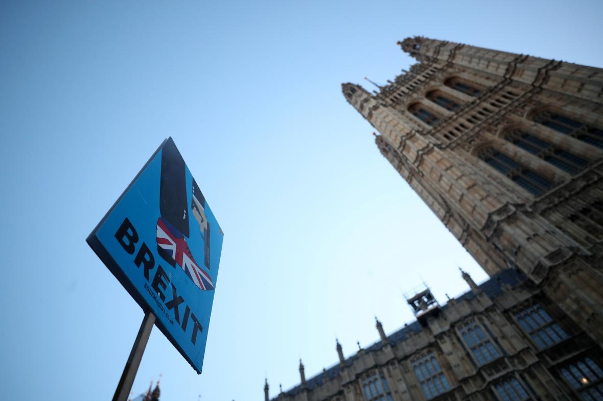Transparent odpůrců brexitu před parlamentem