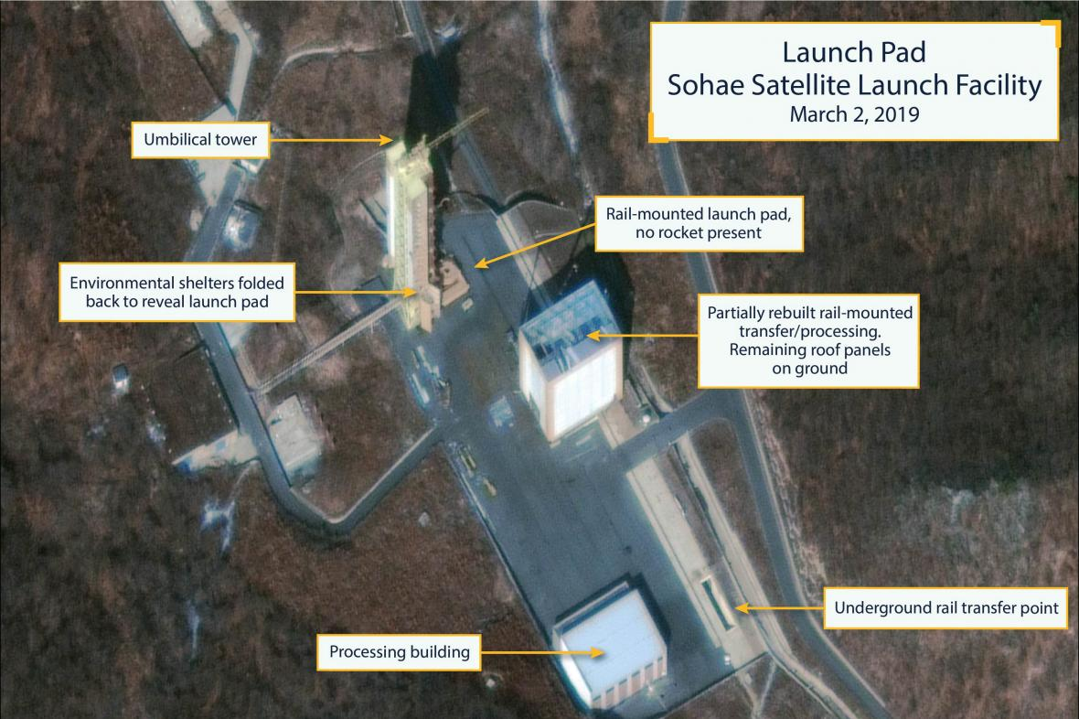 Satelitní snímky střelnice Sohe z 2. března 2019