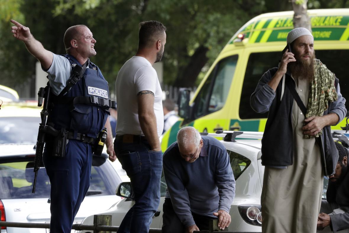 Scéna po útoku v Christchurchi