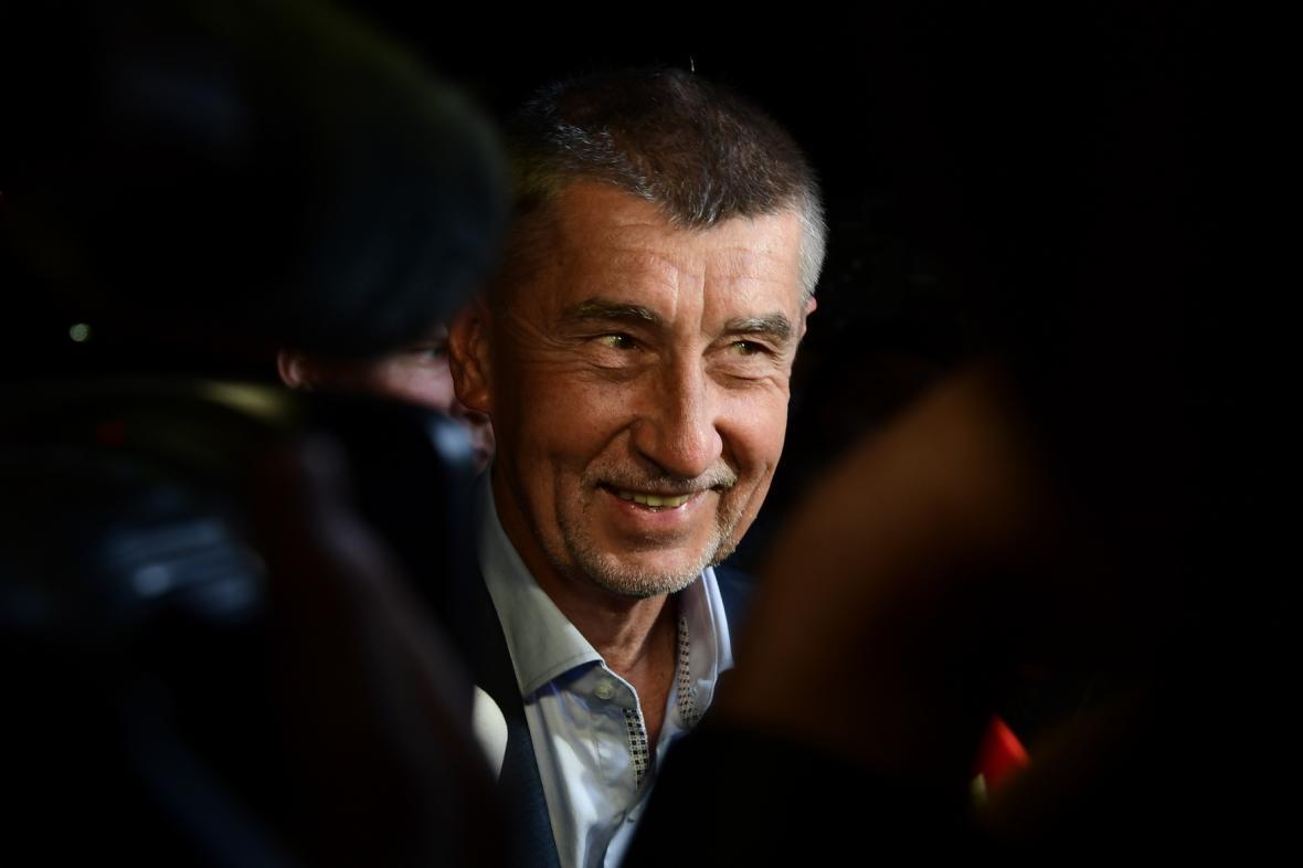 Andrej Babiš ve volebním štábu