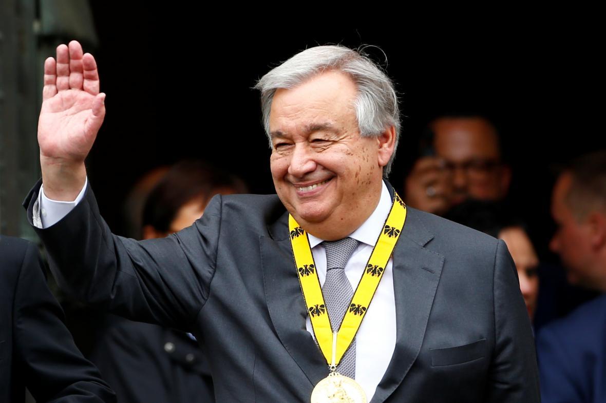 Guterres během slavnostního ceremoniálu k předání ceny