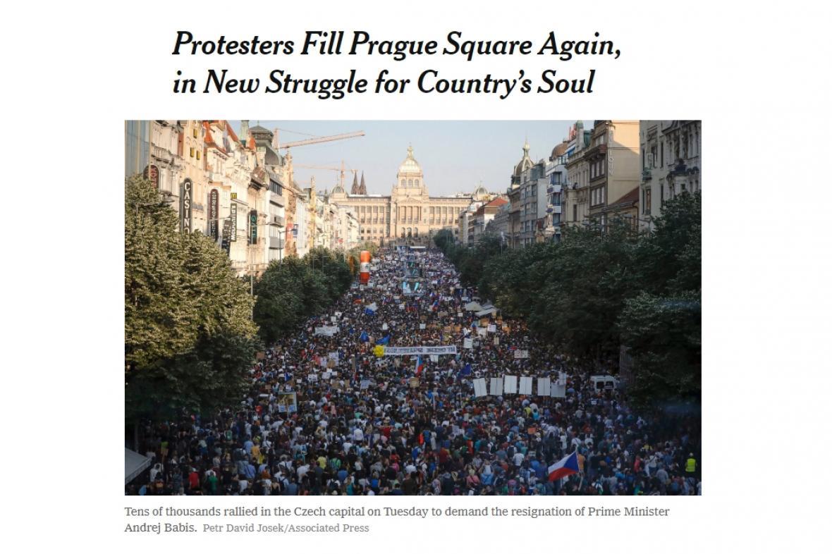 The New York Times o demonstraci v Praze