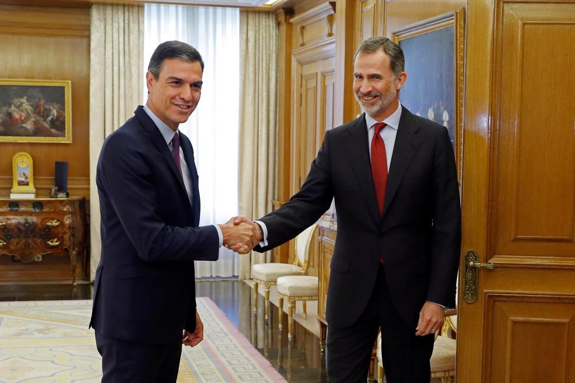 Pedro Sánchez s králem Felipem VI.