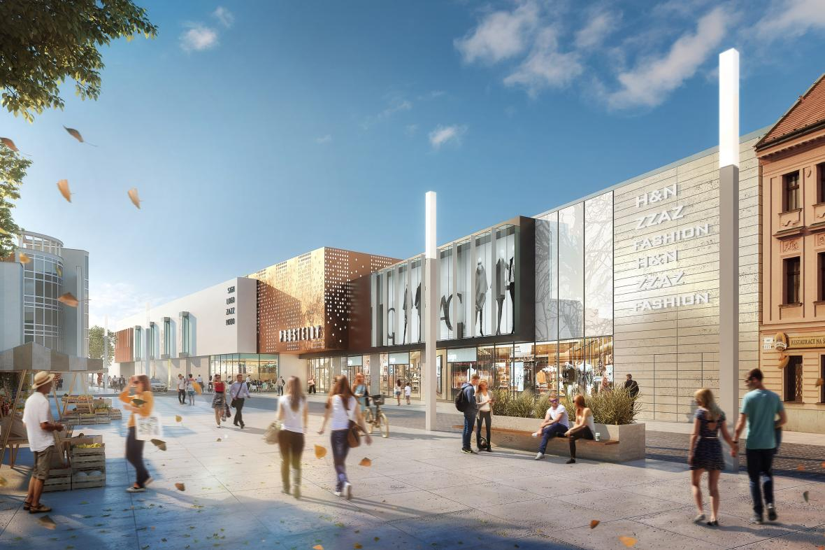 Vizualizace nové obchodní galerie v centru Prostějova