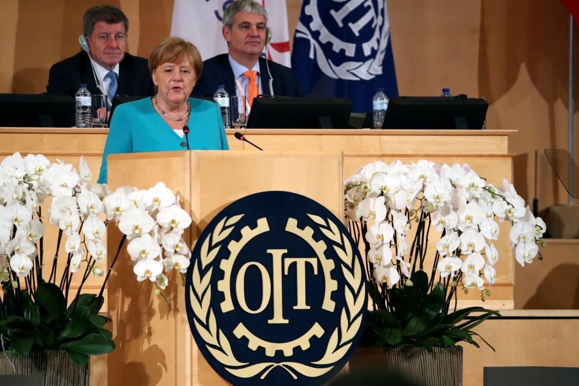 Angela Merkelová na stém výročí Mezinárodní organizace práce