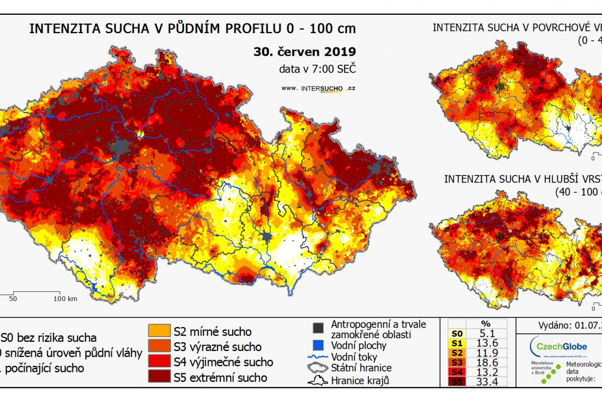 Odchylka sucha od obvyklého stavu v období 1961 - 2010