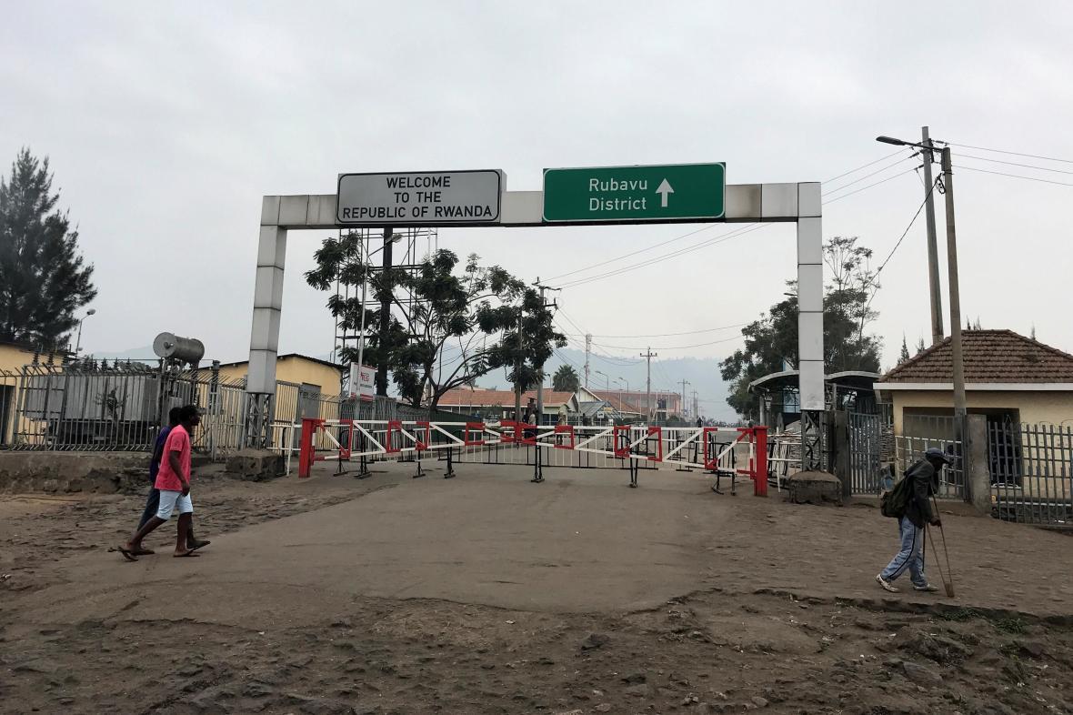 Zavřený hraniční přechod mezi Rwandou a Kongem
