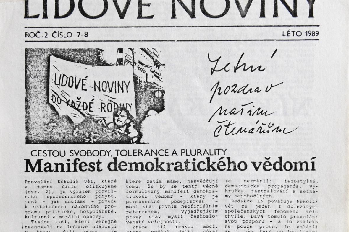 Samizdat Lidové noviny z léta 1989